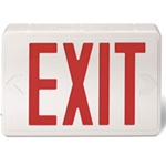 LED Red Exit sign with battery back up supplied by Fire Extinguishers Chicago, protectco inc