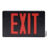 Black LED Red Exit sign with battery back up supplied by Fire Extinguishers Chicago, protectco inc