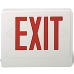 Red Exit sign with Battery backup supplied by Fire Extinguishers Chicago, protectco inc